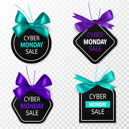 Cyber monday sale labels. Promotion price tags with blue and purple bow and silk ribbon. Big sell-out marketing banners, signage stickers or coupon for holiday discount vector isolated templates set Ilustração