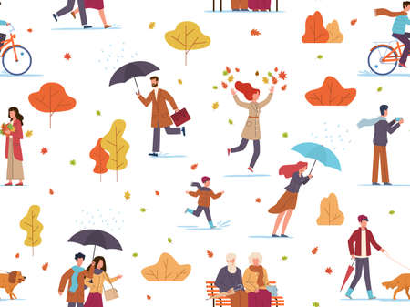 Autumn people seamless pattern. Guys and kid with umbrellas walk public park, take photo and play fall leaves, texture for wallpaper, fabrics and wrapping paper, vector illustration isolated on white