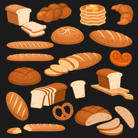 Cartoon bread. Bakery rye products, wheat and whole grain and sliced. French baguette, croissant and bagel, toast cereals variety buns pastry design vector set isolated on black background for menus
