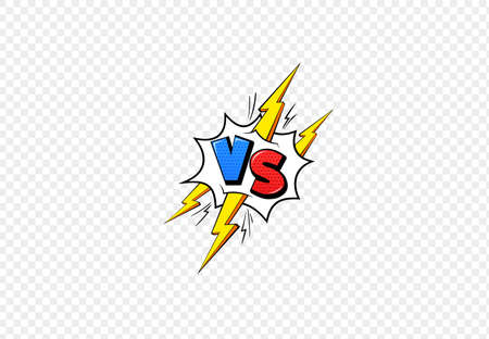 Vs comic book frame. Versus blue and red emblem and yellow lightning letters for battle game duel or fight competition cartoon style, flat vector illustration isolated on transparent background