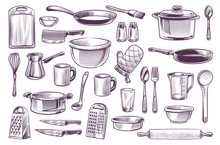 Sketch cooking equipment. Hand drawn doodle kitchen utensils set cooking pot and knife, fork and frying pan, spoon and cup, cutting board engraving style gastronomy culinary vector isolated collection Ilustração