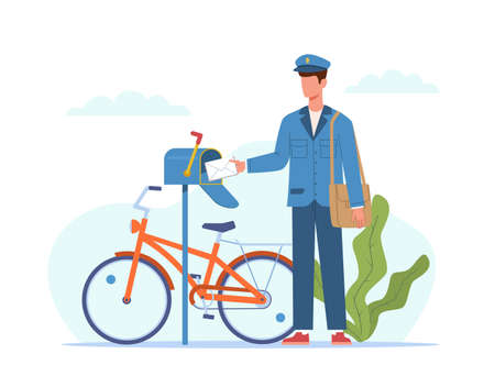 Postman deliver mail. Mailman in blue uniform and bicycle with bag delivering letters in mailbox, envelope message and parcel express delivery in postbox, logistic service cartoon vector flat concept