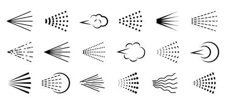 Spray icons. Scatter gas black silhouette, nozzle nebulizer cloud. Clean water symbol drop, hairspray, graffiti, perfume or deodorant aerosol haze, sprayer steam vector line isolated on white set