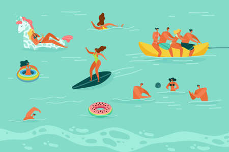 Swimming people. Happy men and woman in swimsuit play ball, swim and surf in sea or ocean, summer beach leisure activities on vacations, flat vector colorful cartoon illustration Ilustração