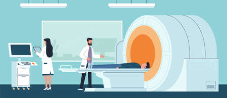 Magnetic resonance imaging. Doctor examining patient in laboratory hospital and nurse watching result on computer, procedure scanning brain x ray scanner, medical treatment vector flat cartoon concept