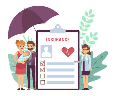 Health insurance. Tiny characters doctor and young parents with newborn child, medical document form for patients, medicine check list with checkmarks, health care concept flat vector illustration