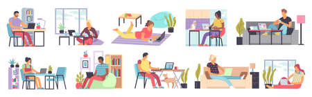 Men and women working home. Distance comfort work in home office people sitting on sofa or armchair with laptop computer or smartphone in living room interior freelance concept flat cartoon vector set