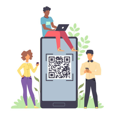 Online payment. Tiny men and woman standing with phones and laptop in hands and huge smartphone with QR code on device screen for scanning, template for money transfer vector flat illustration Ilustração