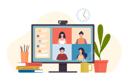 Video conferencing. Virtual meeting, desktop computer with colleagues group office teamwork, e-learning chat or friends meet, software for online communication remote work vector flat cartoon concept Ilustração