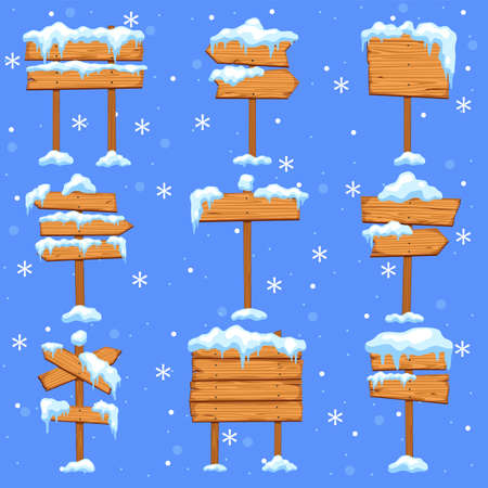 Snowed sign boards. Blank brown wooden signpost, direction street arrows with icicles in snowdrift, empty christmas frames set with snowcap and ice, flat cartoon isolated winter collection