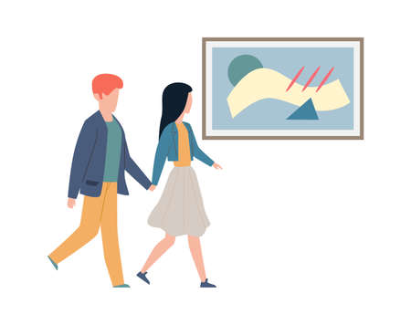 Exhibition visitors looking art. Couple man and woman walk hold hands and look artworks and pictures in frame, date at modern museum or gallery flat cartoon isolated illustration