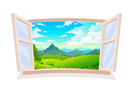 Open window. View from wooden window on landscape, sunny day scene, hill field and mountain, land and cloudy blue sky, wild nature grass and forest countryside background with tree illustration