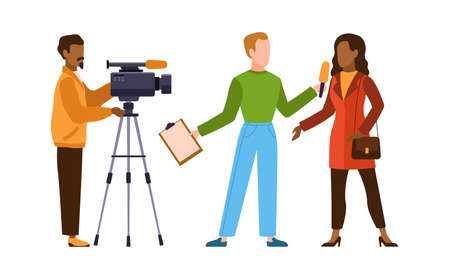 Press interview with cameraman. Journalist interviews woman. Newscaster and journalist profession. Operator holds camera and reporter with microphone, television industry cartoon flat character