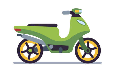 Retro motorbike. Delivery old green scooter, collectible classic vehicle for road racing, speed race vintage style moped travel and sport flat isolated on white motor transport illustration