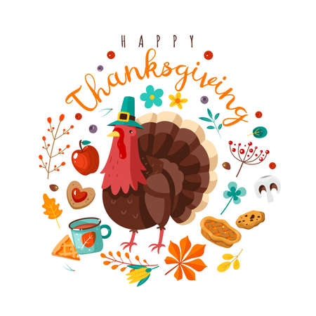 Thanksgiving day. Happy holidays poster with festive character. Holiday turkey in hat, yellow leaves and fruits, berries and pumpkin pie with text flat cartoon postcard poster or banner