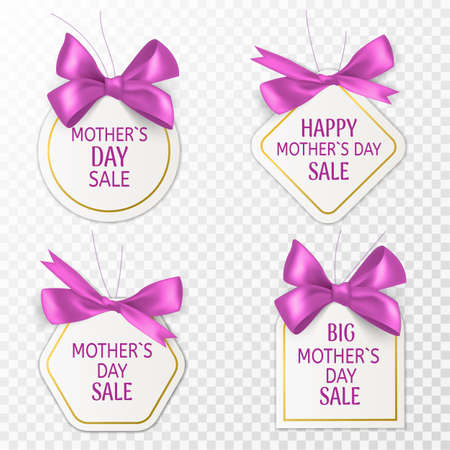 Mother day tags. Cute sale labels with pink bow and silk ribbon, special retail badges, mom day discount sticker or coupon, holiday advertising template marketing banners