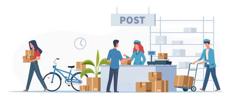 Post delivery office. Postmen, courier with truck and people with boxes and letters in post reception, order receiving or parcel, mail service postage stamp envelopes flat cartoon illustration