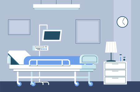 Hospital room interior. Modern intensive therapy ward with bed on wheels and medical equipment emergency clinic with furniture monitor and dropper healthcare flat aid concept in blue colors Ilustração