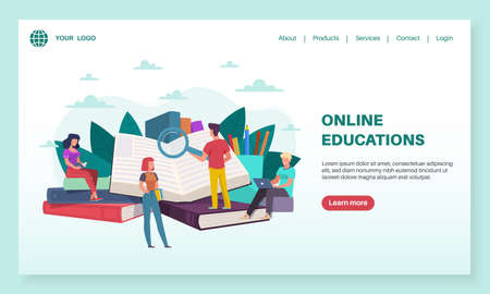 Online education landing page. Tiny people read huge books. Training courses, internet teaching, e-learning and library, tutorials webinar for students, mobile app or web banner flat template