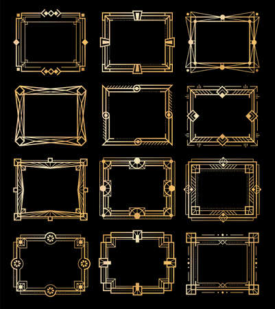 Art deco gold frames. Golden luxury vintage rectangular borders, geometry line patterns, 1920s empty style elements, abstract retro decorative shape collection,  illustration set