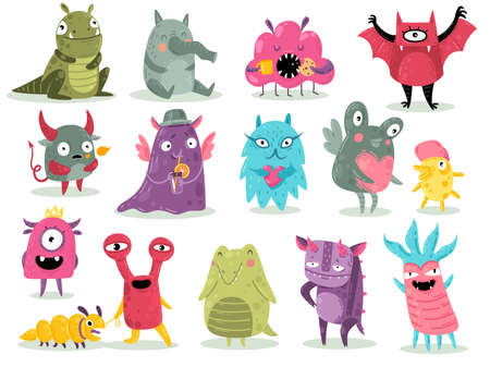 Cartoon monsters. Cute goblins, colorful crazy alien characters, funny comic gremlins, little bright dragons and devil spooky creatures. Halloween scary toy mascots set Ilustração