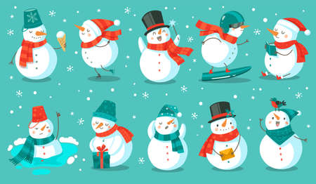 Snowman. Cheerful christmas snowmen in different costume with ice cream, book and gift, letter and snowboard winter outdoor festive happy xmas holiday cute characters, flat  cartoon isolated set