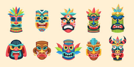 Tribal mask. Ethnic african, aztec and hawaiian ritual aboriginal face masks, traditional exotic indian wooden symbols, ancient tropical ritual totem religion idol colorful isolated set Ilustração