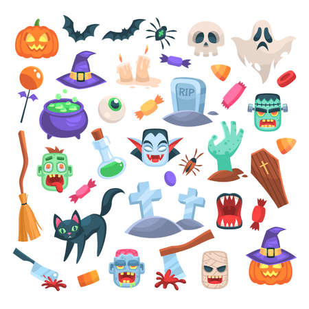 Halloween icons. Funny holiday candle, zombie, witch cauldron and broom, ax and spider, pumpkin in hat, spooky ghost, grave and bat, skull magic trick or treat party flat cartoon isolated set