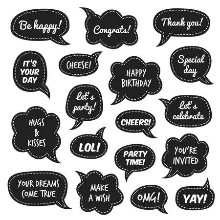 Party props. Photo booth comic speech bubbles with funny phrases for masquerade event, white congratulate text on black background christmas and new year party, birthday isolated set Ilustração