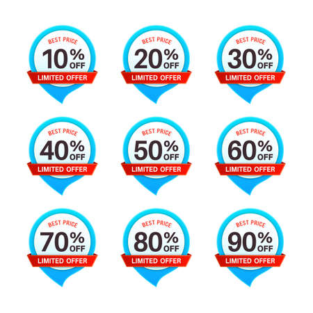 Discount tags. Price 10 - 90 percent off marketing circle badges, product promotion emblems. Special offer sale labels in blue and red colors, savings money cashback stickers flat  isolated set