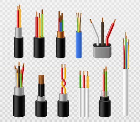 Electric cables. Industrial copper power industrial wire, colorful 3d telephone internet conductors. Voltage electrical connections, electricity  realistic set isolated on transparent background