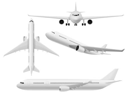 Airplane 3d. Airliner top, side and front view. Flying aircraft in various angle, white air transport, commercial journey trip and travel aviation passenger plane realistic  isolated set