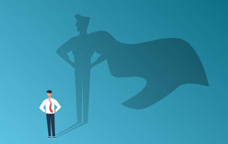 Businessman with superhero shadow. Leadership professional ambition, achievement and business success, strong man with inner leader potential, career motivation creative  flat cartoon concept