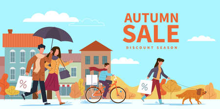 Autumn sale. Special fall offer, people with shopping bags and umbrellas in city among yellow orange leaves and puddles. Seasonal discount promotion, price falls advertising  flat banner