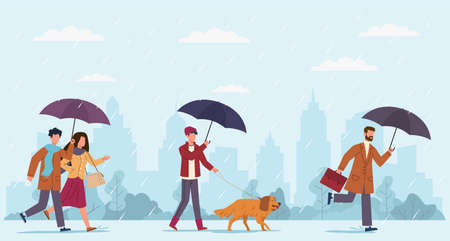 People autumn rain. Women and men with umbrella walking at rainy windy day on street, boy walking with dog and businessman run on puddles on fall cityscape seasonal weather  flat cartoon concept