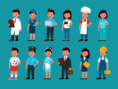 Kid professionals. Children soccer or football player, builder and policeman, stewardess and waiter, chef and doctor, programmer and photographer, man and woman in uniform  flat cartoon set