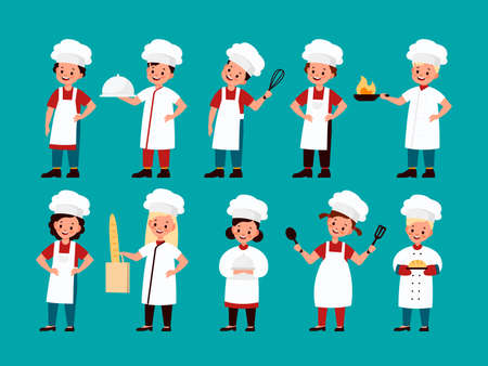 Chef kids. Happy gourmet children cook delicious food on kitchen, fun confectioner boy and girl in chef uniform collection, child cooking culinary school cartoon  flat isolated characters Ilustração