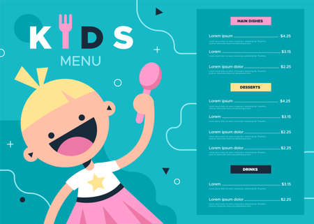 Kids menu. Colorful kid food and drink menu for cafe or restaurant, cute baby girl with spoon and delicious meals dinner list, discount coupon flyer   bright simple cartoon template design Ilustração