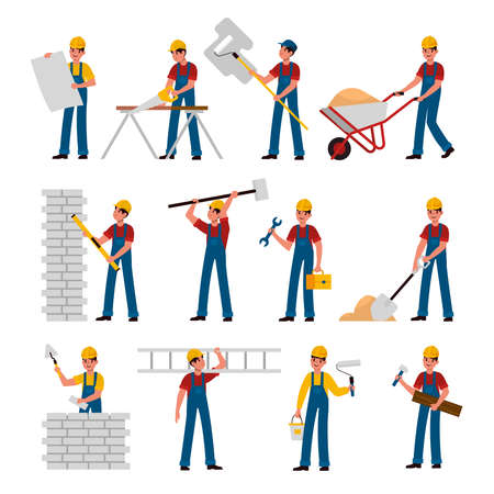 Construction workers. Cartoon builders in helmet and uniform work with constructions tools saw, hammer and trowel, shovel and ladder, building and renovation house flat  characters collection Ilustração