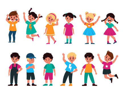 Emotional kids. Cute boys and girls afraid and happy, cry and sad, surprised and resentful, jump and angry, greet and smiley, faces with expressions  flat cartoon children characters collection