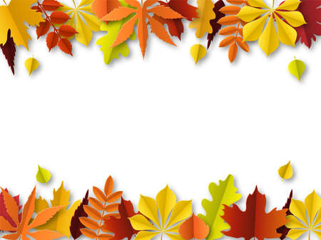 Fall leaves concept. Autumn border, paper cut frame of green, orange and red leaf. Thanksgiving golden foliage decoration. Seasonal botanical elements vector abstract background with copy space