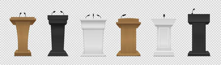 Tribune set. Realistic different color podium with microphones front view, pedestal for lecture, award ceremony, press interview and political debate 3d empty platform for speakers vector isolated set
