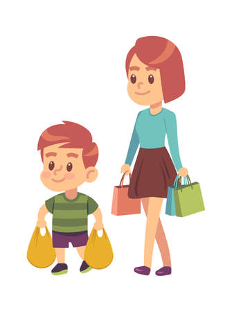Good manners. Boy helps mom. Polite kid with good manners holding packages in supermarket or mall. Mother with son shopping together. Children etiquette concept cartoon flat vector illustration
