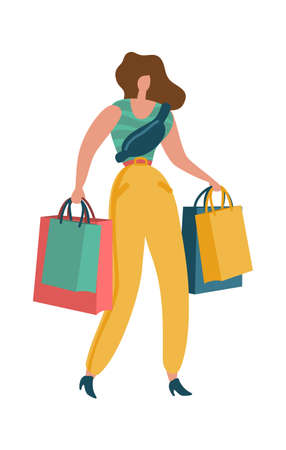 Shopper woman. Shopaholic female with shopping bag in mall young beautiful fashion byer girl image for sale or discount advertising. Buying gifts and presents flat vector isolated cartoon illustration Illusztráció