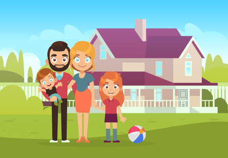 Happy family on background of house. Father, mother, son and daughter kids standing outdoor, buying and moving to new apartment summer landscape flat vector illustration Illusztráció