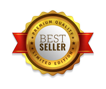 Best seller badge. Premium golden emblem, luxury genuine and highest quality product badge, gold sale offer, round promotion decoration element with red ribbon realistic vector isolated illustration