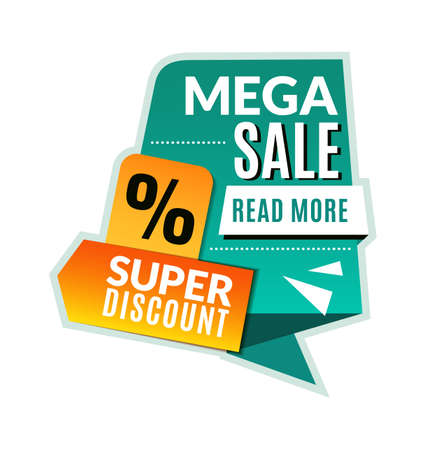Mega sale tag. Super discount promotional product flyer, abstract concept graphic half price website banner, marketing brochure or coupon green and yellow colors vector geometric shapes template