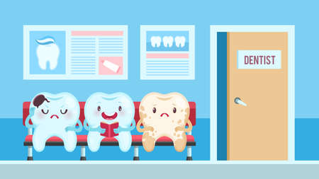 Cute teeth in dental clinic. Dentist waiting room with upset and smiling patients, healthy and aching tooth with different emotions. Medical children dentistry office for poster cartoon vector concept