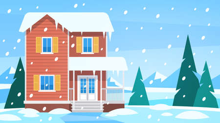 House in winter. Cottage in snowy landscape in countryside, snow forest with trees and hills, front view building with terrace christmas vacation seasonal vector background