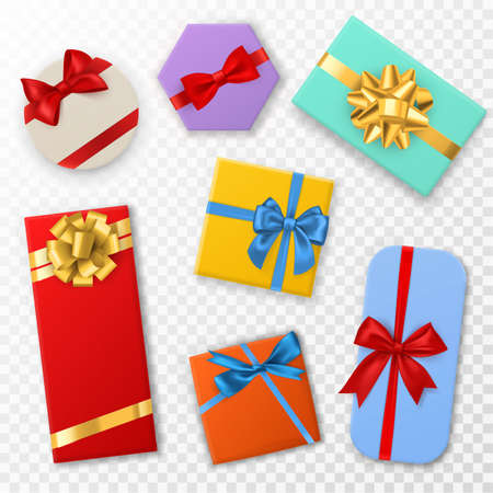 Gift box with bows. Top view gift color boxes with red, blue and gold ribbon bow. Birthday, christmas or valentine day presents. Decoration stylish wrap vector set isolated on transparent background